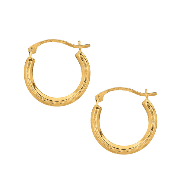 10K Yellow Gold Shiny Diamond-cut Small Round Hoop Earrings