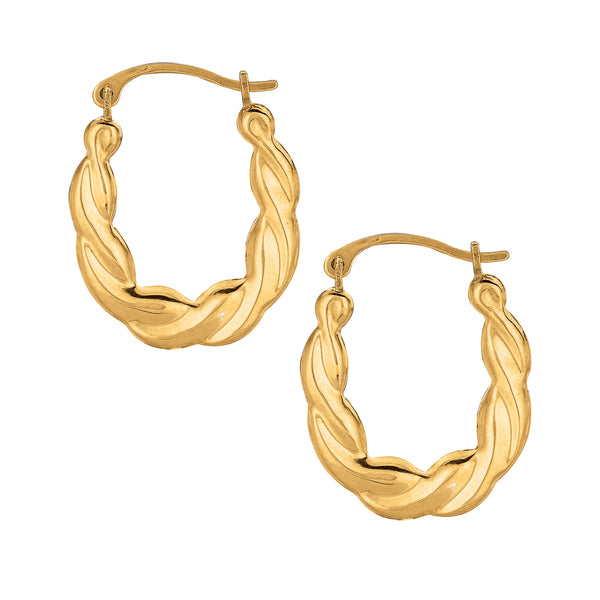 10K Yellow Gold Twisted Hoops Hoop Earrings 20mm