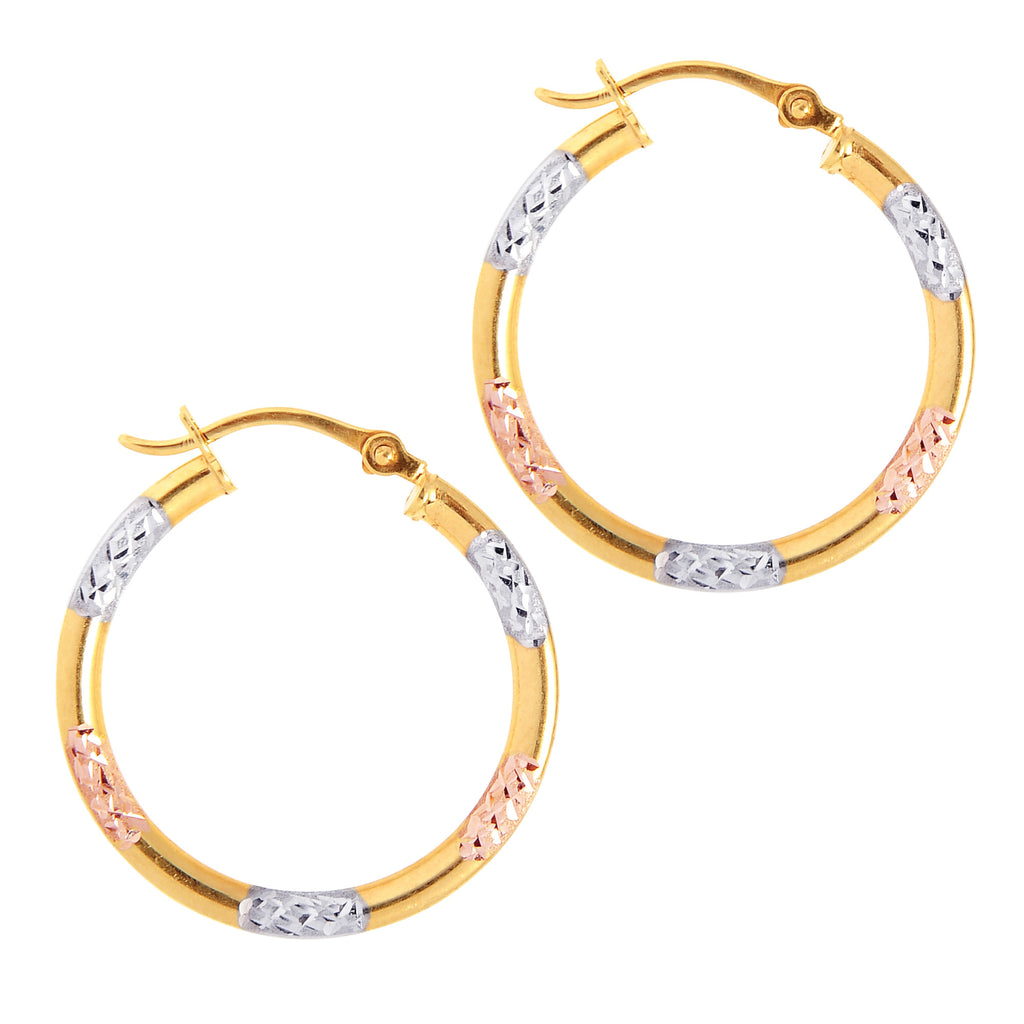 10K Yellow Rose White Gold Tubular Hoops Dia Cut Hoop Earrings 28mm