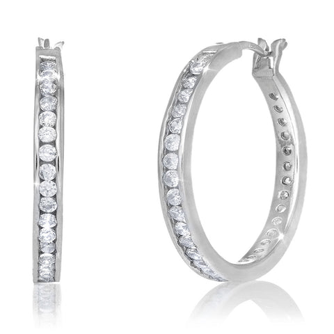 .925 Sterling Silver CZ Hoops Hoop Channel Set Earrings 50mmx3mm