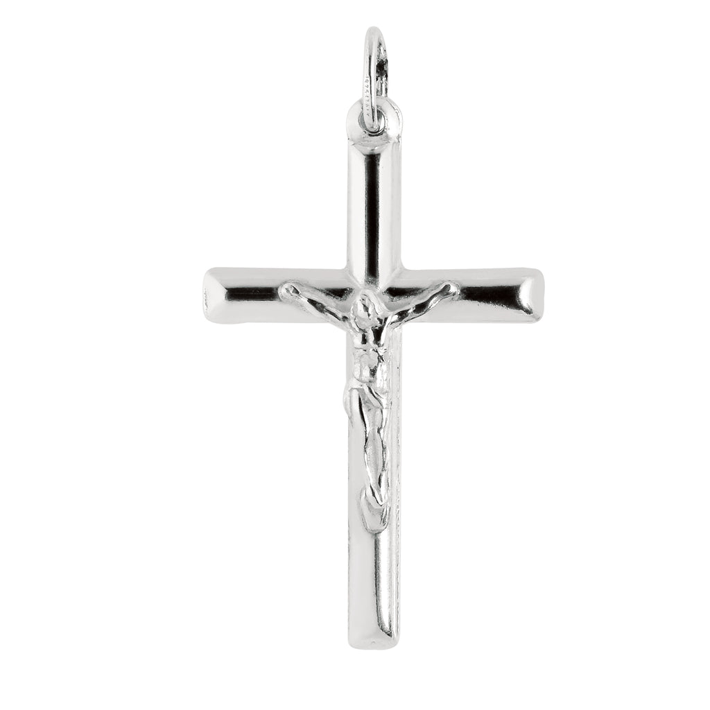 Sterling Silver Crucifix Cross Charm Pendant 25x39mm
