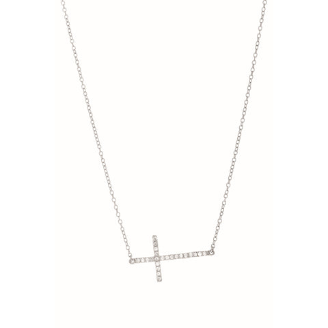 .925 Sterling Silver CZ Sideways Cross Necklace 18""