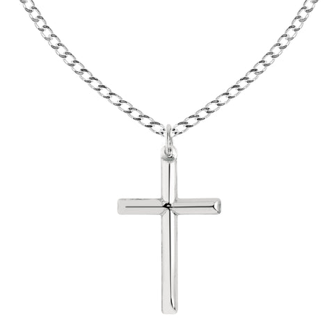 Ritastephens Sterling Silver Shiny Italian Cross Pendant Necklace