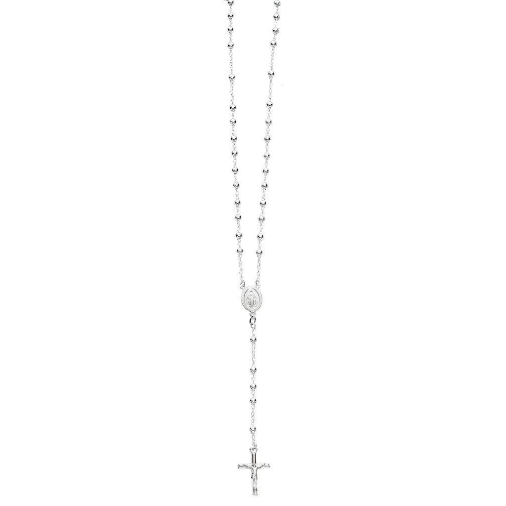 Sterling Silver Rosary 5mm Bead Crucifix Necklace Virgin Mary Cross 24""