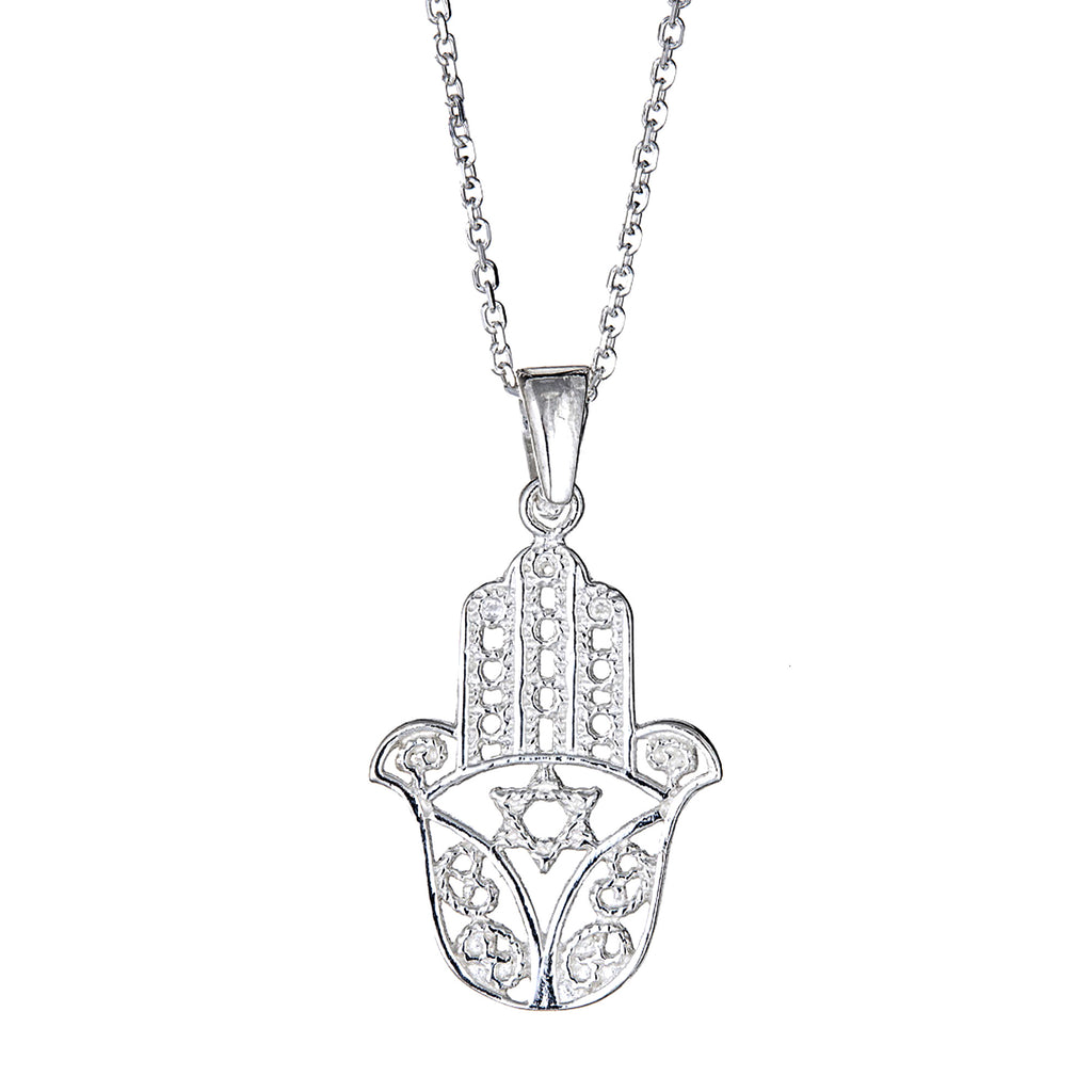 Sterling Silver Filigree Hamsa Hand Charm Pendant Necklace 18 Inches