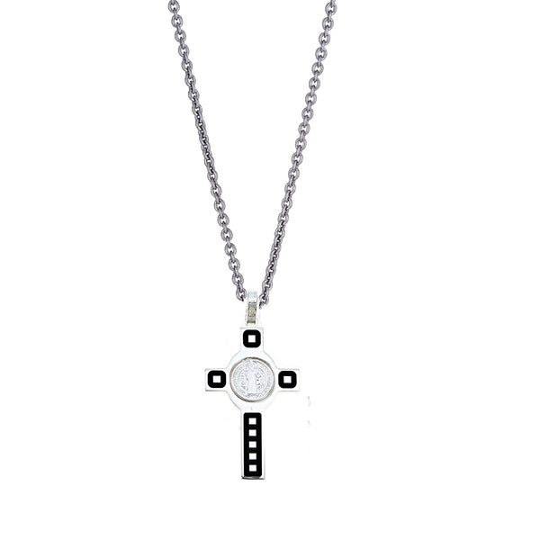 Sterling Silver St Benito Black Enemal Cross Charm Pendant Necklace 18 Inches