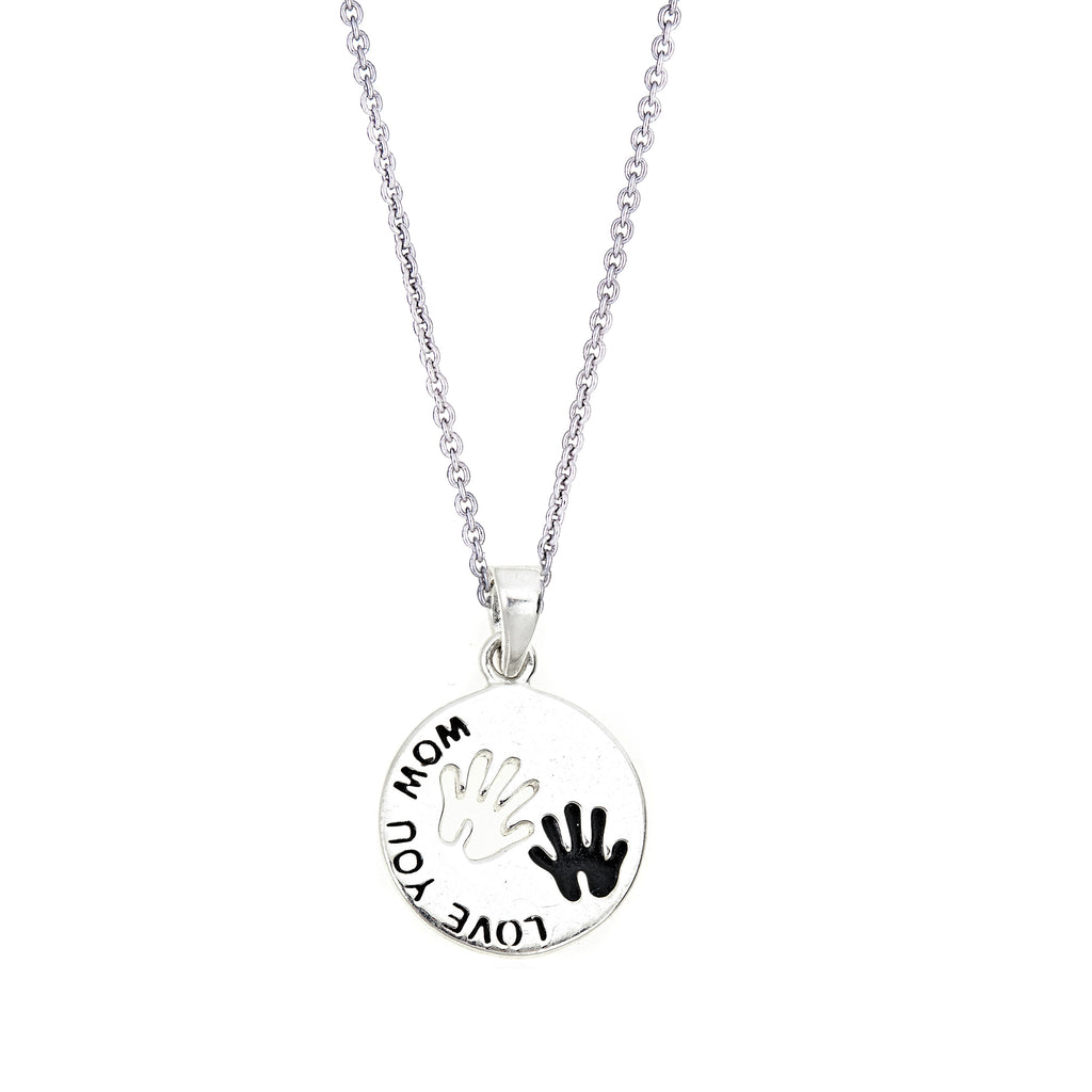 "Sterling Silver ""LOVE YOU MOM"" Hand Palm Print Charm Pendant Necklace 15mm 18"""