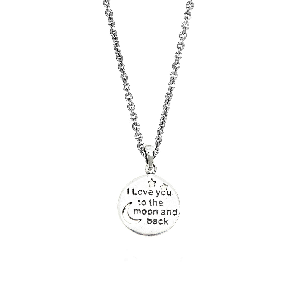 "Sterling Silver ""I LOVE YOU TO THE MOON AND BACK"" Charm Pendant Necklace 15mm 18"""