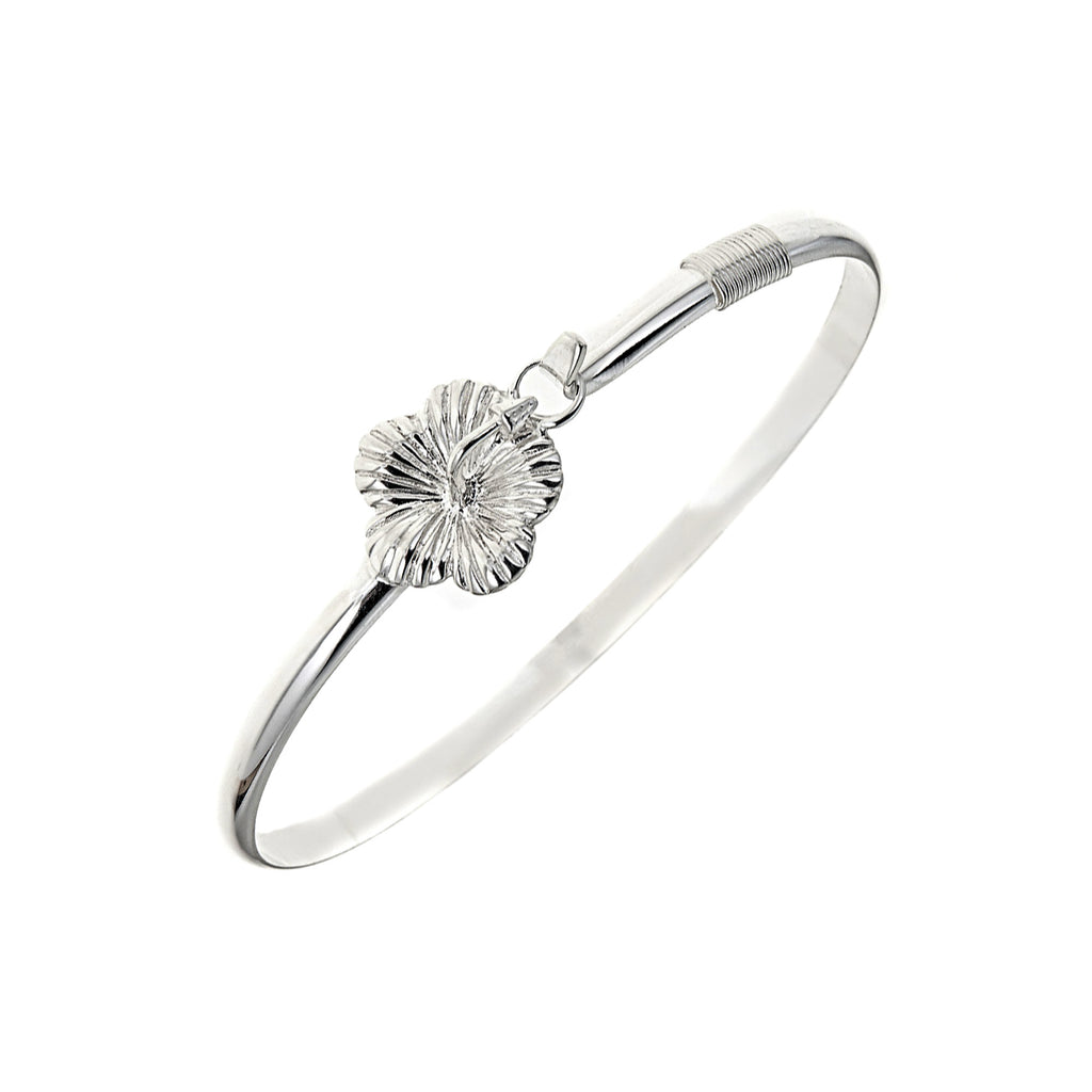 Sterling Silver Hibiscus Flower Wrist Cuff Bangle Bracelet 7.5""
