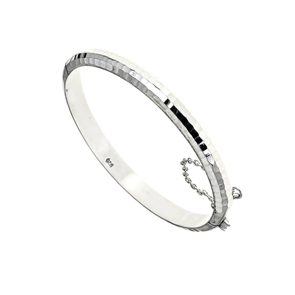 Sterling Silver Small Hammered Textured Petite Bangle Bracelet with Safety Chain 5 Inches
