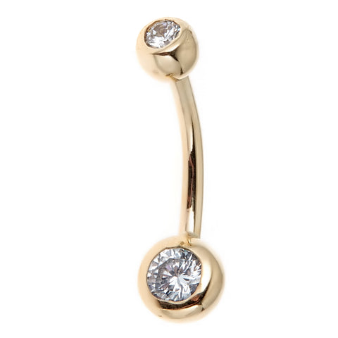 14k Real Gold Bezel CZ Belly Button Navel Ring 14 gauge