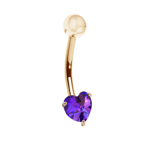 14k Solid Yellow Gold Genuine Amethyst Heart Belly Button Navel Ring Body Art