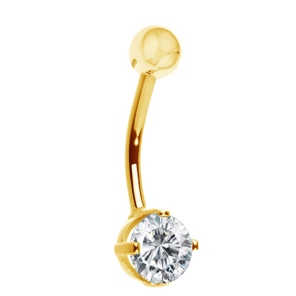 Ritastephens 14k Solid Gold Yellow Belly Button Navel Ring CZ Cubic Zirconia Body Art