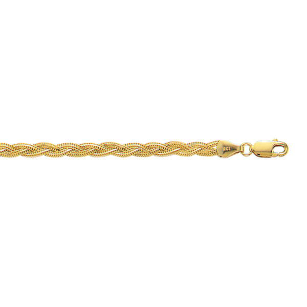 "14K Yellow Gold Braided Anklet Ankle Bracelet 10"" 3.5mm"