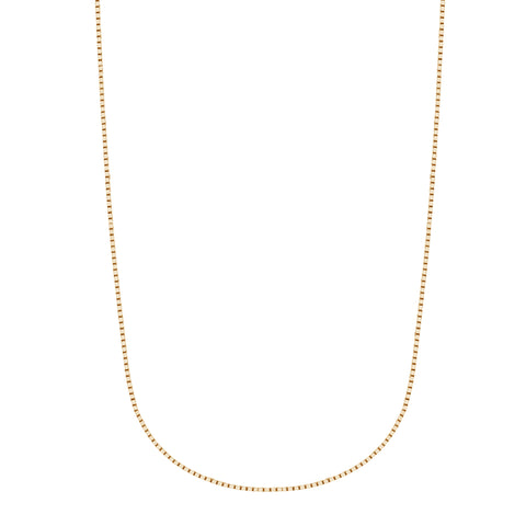 14K Solid Yellow Gold Box Chain Necklace Lobster Lock 0.6mm