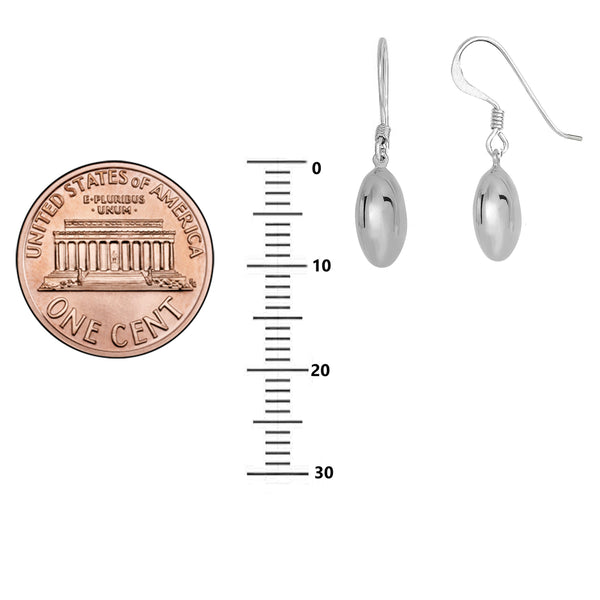 Sterling Silver Shiny Oval Dangle Drop Earrings 10mm