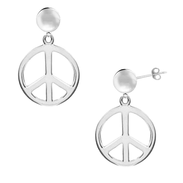 Sterling Silver Peace Sign Charm Dangle Earrings