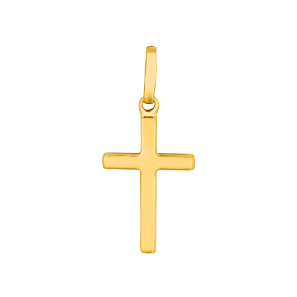 14K Solid Yellow Gold Baby Cross Charm Necklace Pendant 16""