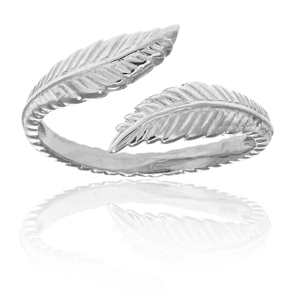 Sterling Silver Feather Leaf Adjustable Ring or Toe Ring