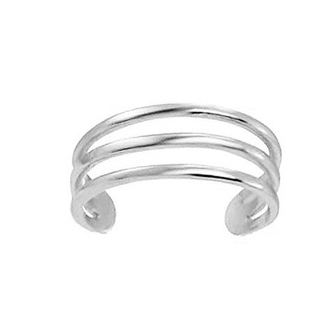 Ritastephens 14k White Gold Three Row Band Toe Ring Body Art Adjustable