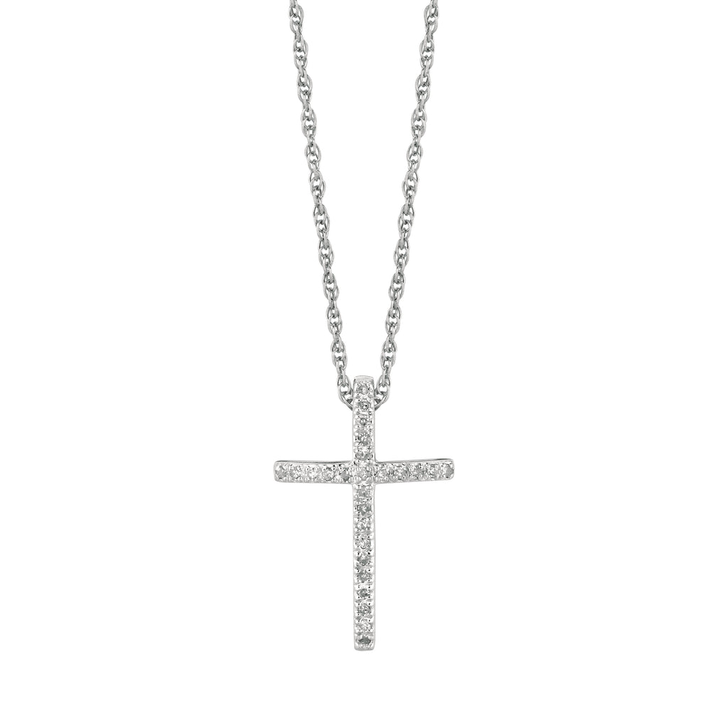 Sterling Silver Diamond Cross Charm Necklace Pendant 0.12ct  18""