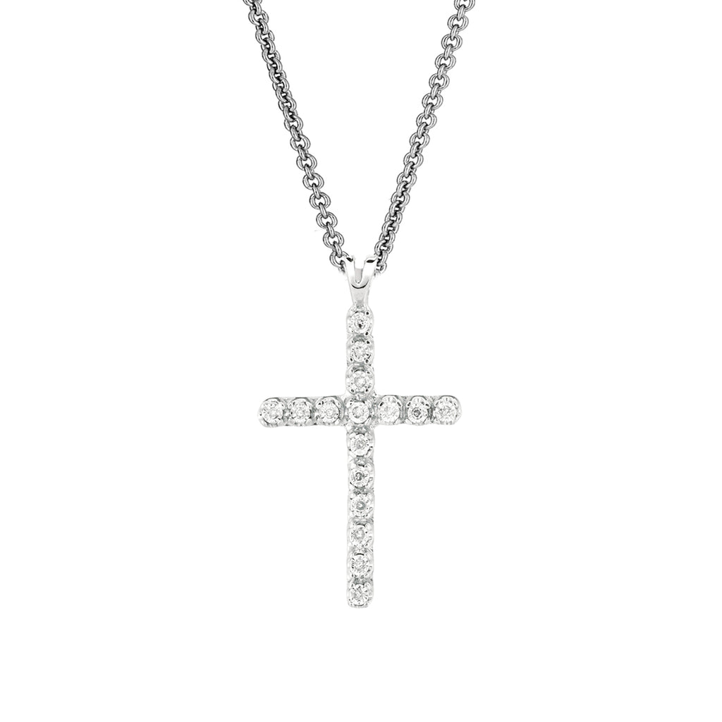 .925 Sterling Silver Diamond Cross Necklace Pendant 0.05ct 18""