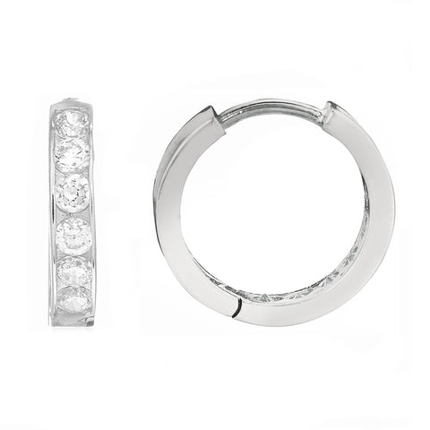 .925 Sterling Silver Huggie Huggy Hoop 11mm Earrings CZ