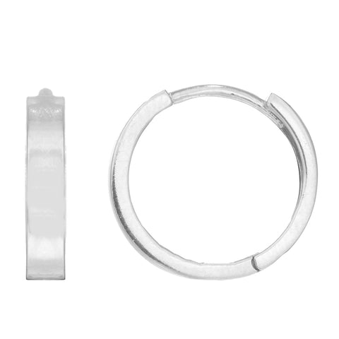 14k White Gold Square Tubular Huggies Huggy Hoops Hoop Earrings 2.5x13mm