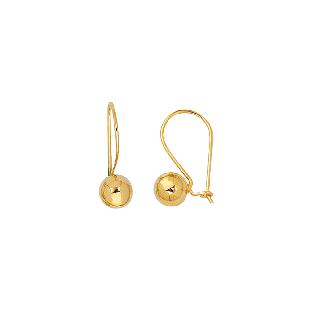 14K Real Yellow Gold Ball Drop Dangle 7mm Earrings New