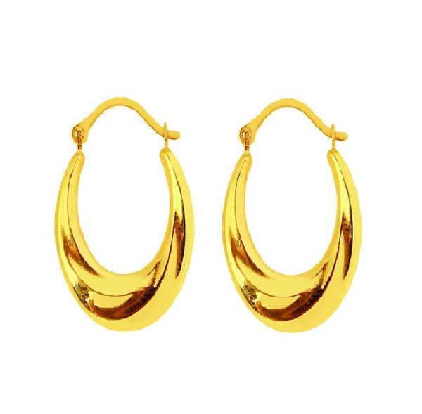 14K Real Yellow Gold Shiny Oval Earrings Hoops Hoop Small 14x16mm