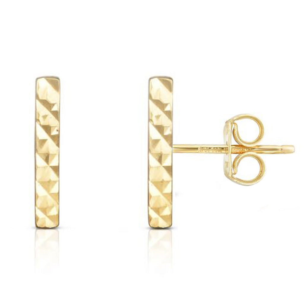 Ritastephens 14k Solid Gold Small Diamond-cut Staple Bar Stud I Earrings 2x11mm