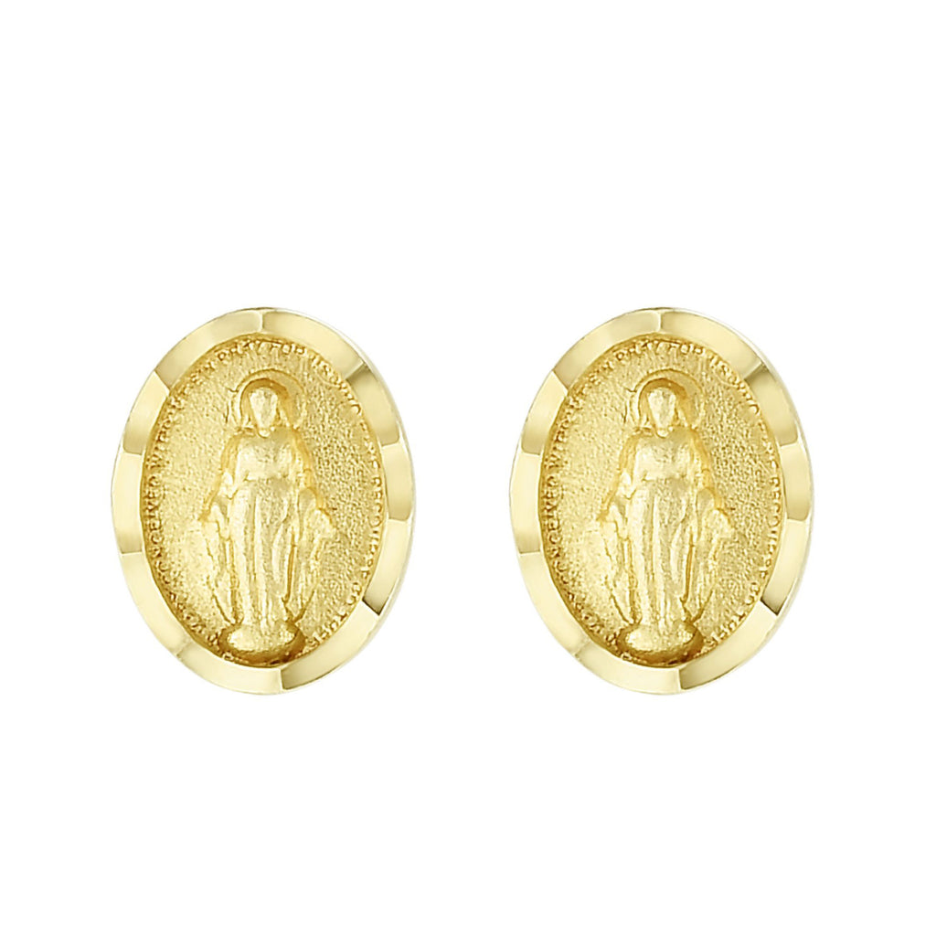 14k Yellow Gold Mini Miraculous Virgin Mary Small Oval Stud Post Earrings (8x6mm)