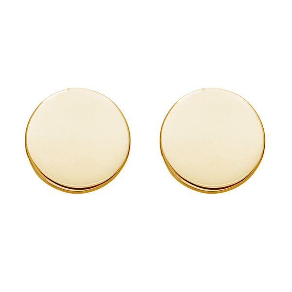 Ritastephens 14K Yellow Gold Mini Round Circle Disc Geometric Stud Post Earrings 6mm