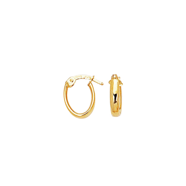 14K Yellow Gold Shiny Small Oval Hoops Hoop Earrings