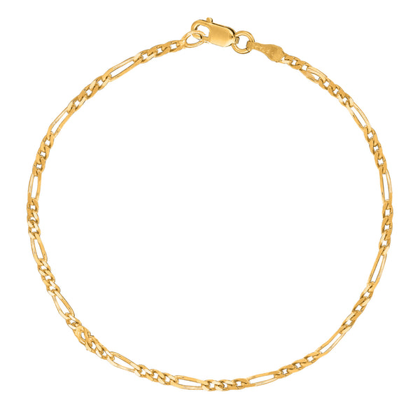 "14K Yellow Gold Figaro Chain Anklet Ankle Bracelet 10"" 2.6mm"