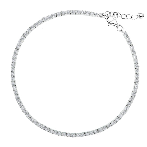 "Sterling Silver 3mm Italian CZ Adjustable Cubic Zirconia Tennis Foot Chain Ankle Bracelet Anklet 9""-10"""