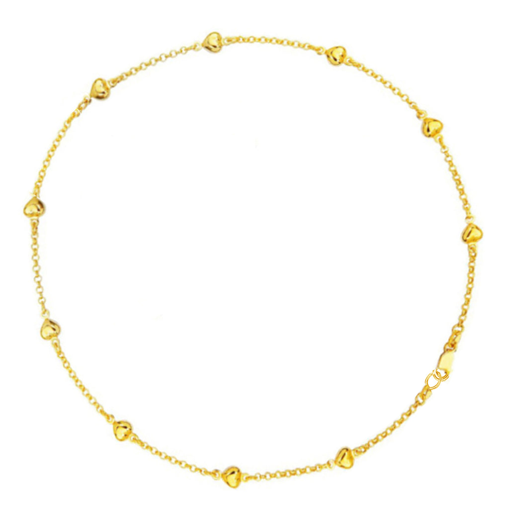 14k Real Yellow Gold Puffed Heart love Ankle Anklet Bracelet 10""