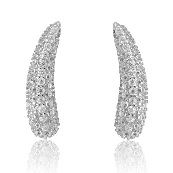 Sterling Silver Cz Ear Climber Curved Earrings 20mm