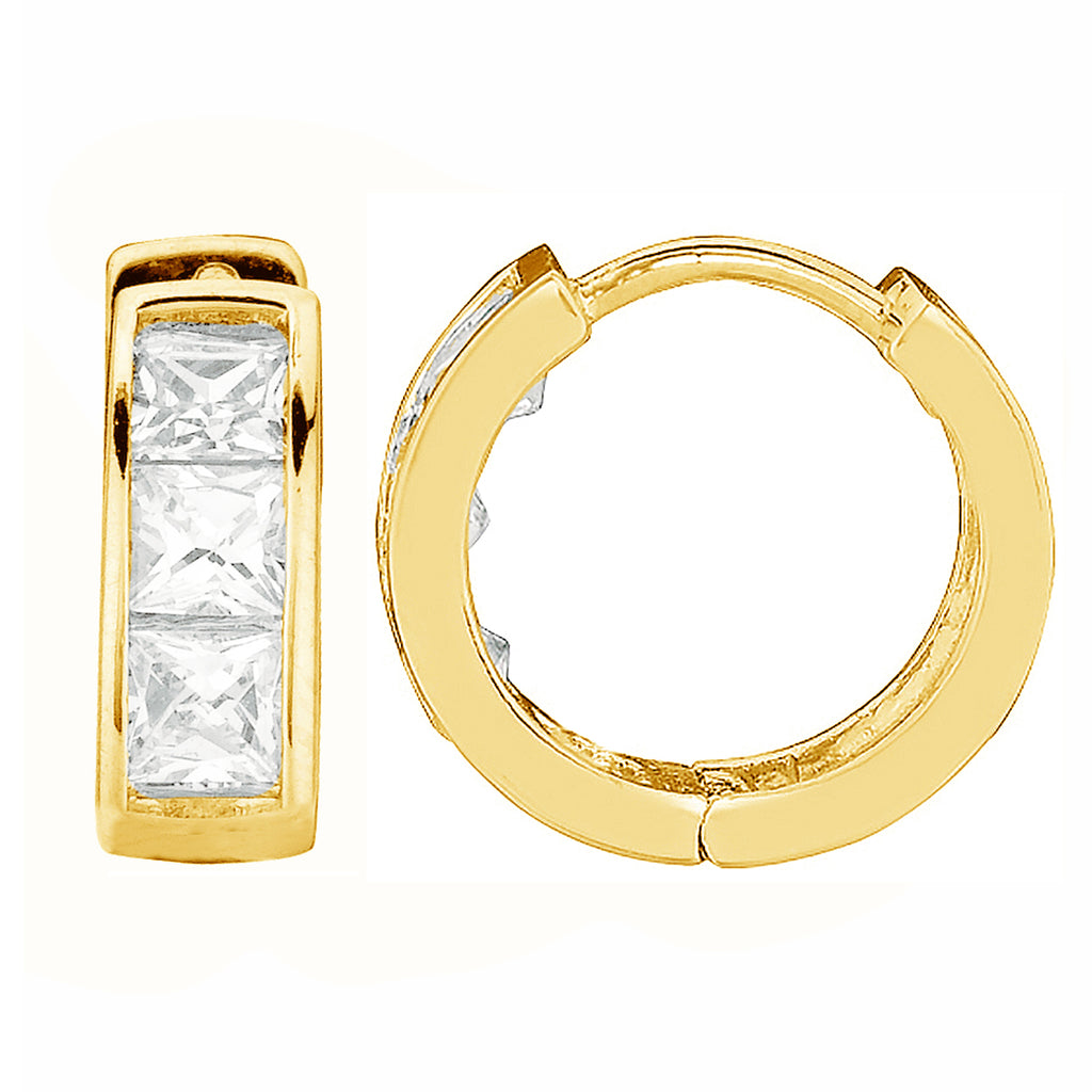 14K Real Yellow Gold CZ Princess Cut Huggie Huggy Baby Hoops Earring 3x9mm