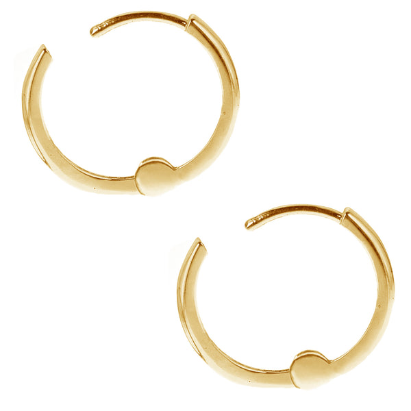 14k Solid Yellow Gold Baby Huggy Huggies Earrings Hoops 1.5 X 9mm {Small}