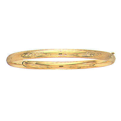 "10k Real Yellow Gold Engraved Hinged Bangle Bracelet 5mm 7"" 4.2grams"