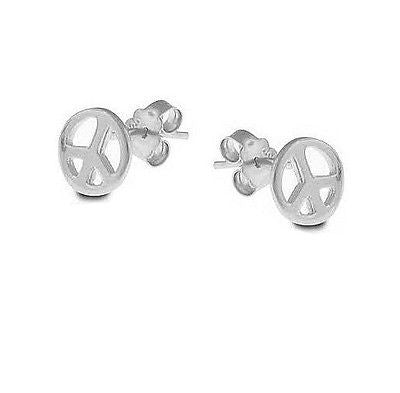 Sterling Silver Peace Stud  Post Earrings Small Kids Baby 7.5mm