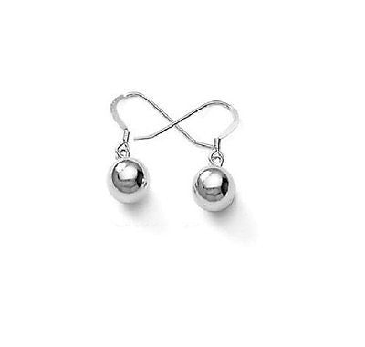 .925 Sterling Silver Shiny Ball Dangle Drop Earrings 8mm Hook Clasp