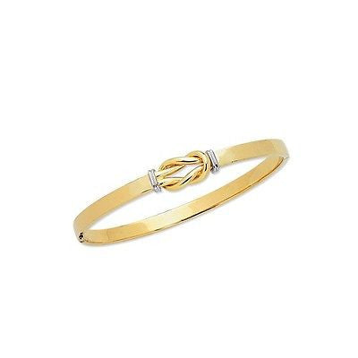 14K Solid Yellow Gold Knot Hinged Bangle Bracelet 7 Inches