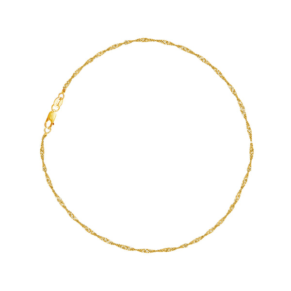 "14k Yellow Gold Sparkle Singapore Chain Anklet Bracelet 10"" 1.5mm"