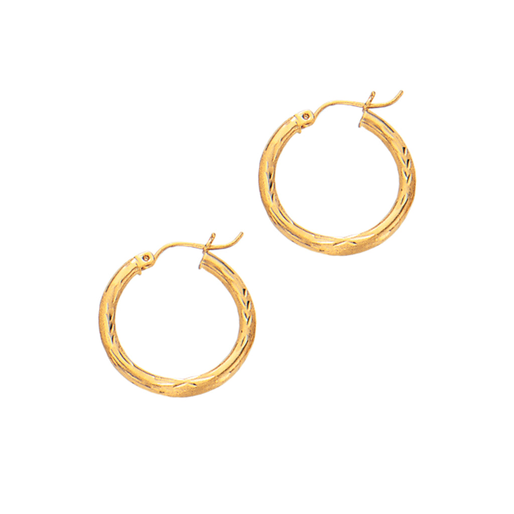 14K Real Yellow Gold Tubular Hoop Hoops 2 X 15mm Earrings New