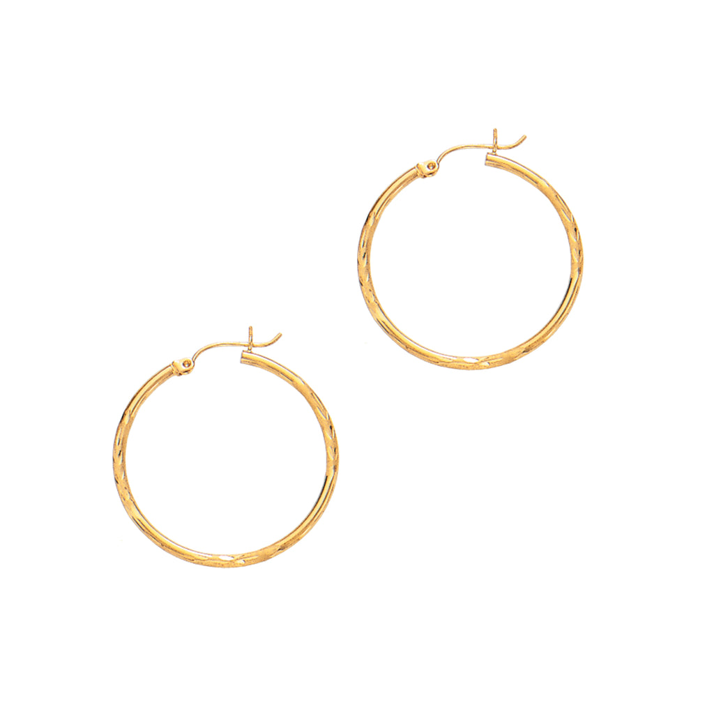 14K Real Yellow Gold Tubular Hoop Hoops 2 X 30mm Earrings New