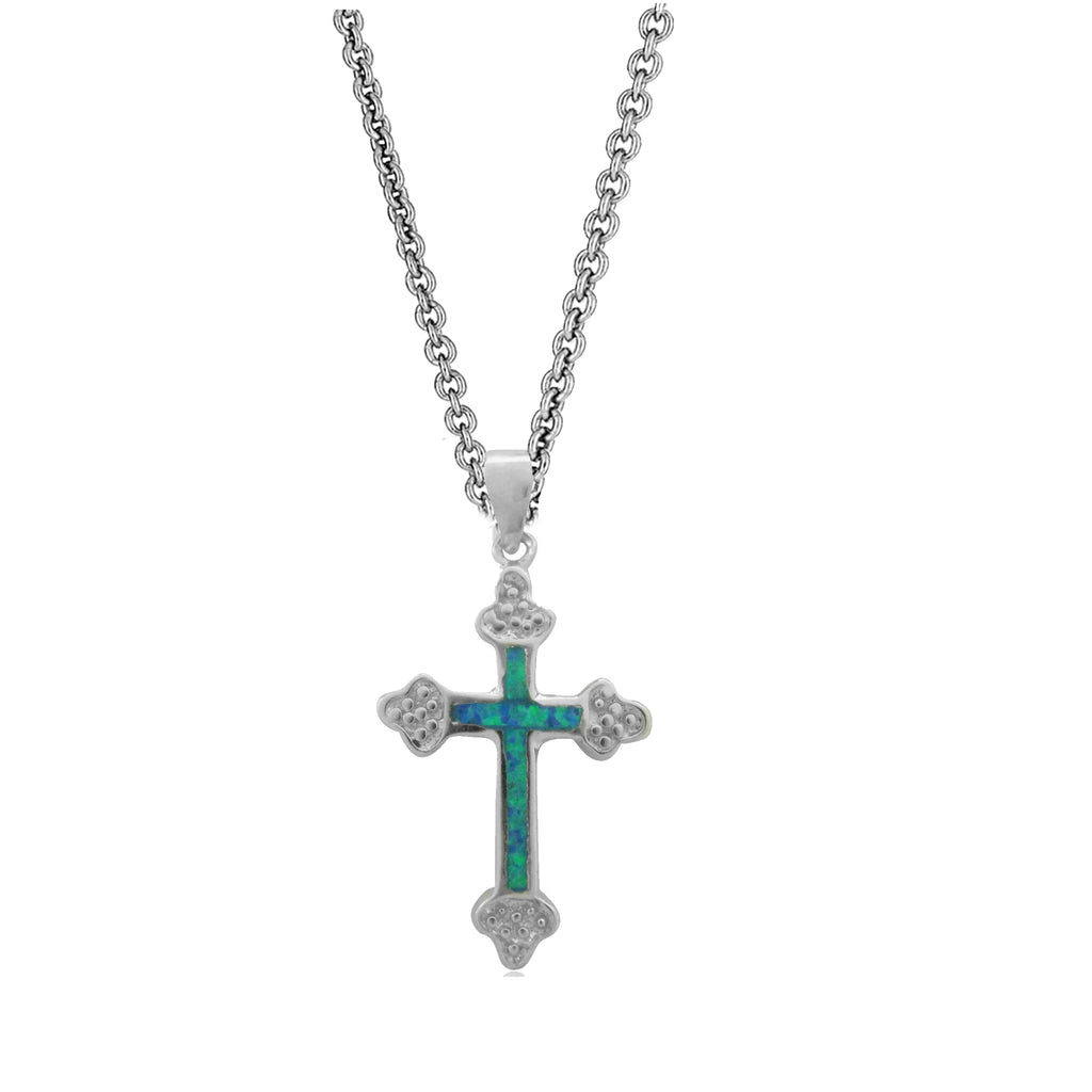 Sterling Silver Created Opal Cross Charm Pendant Necklace 18 inch