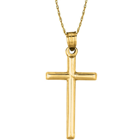 "14k Solid Yellow Gold Tubular Cross Necklace Pendant 18"" Chain"