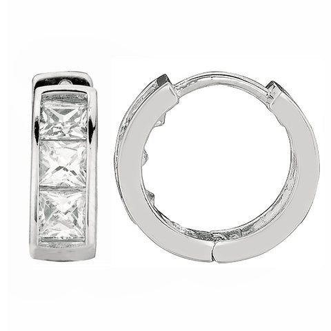 .925 Sterling Silver Princess Cut Huggy Huggies Hoops Hoop Earrings 9X3.5mm CZ
